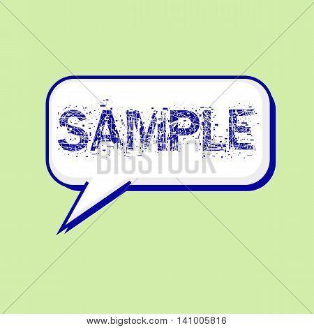 sample blue wording on Speech bubbles Background Green-White