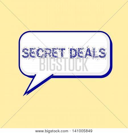 secret deals blue wording on Speech bubbles Background Yellow-White