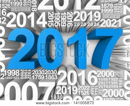 Twenty Seventeen Indicates Happy New Year And Annual 3D Rendering