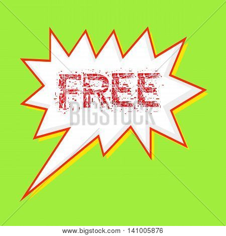 free red wording on Speech bubbles Background Green-yellow