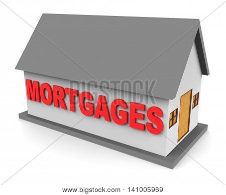House Mortgages Represents Housing Loan And Buying 3D Rendering