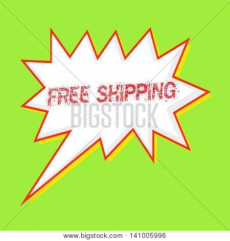 free shipping red wording on Speech bubbles Background Green-yellow