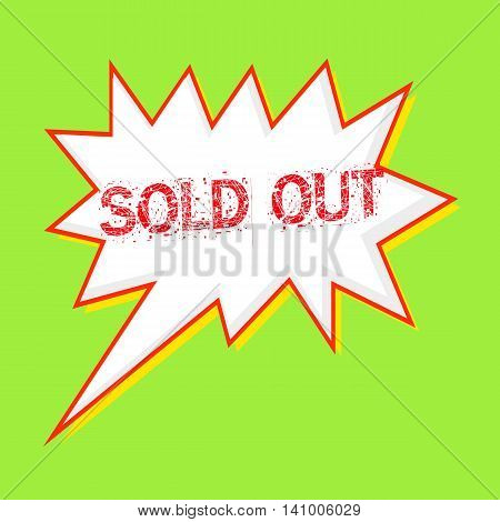 Sold out red wording on Speech bubbles Background Green-yellow