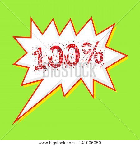 100% red wording on Speech bubbles Background Green-yellow