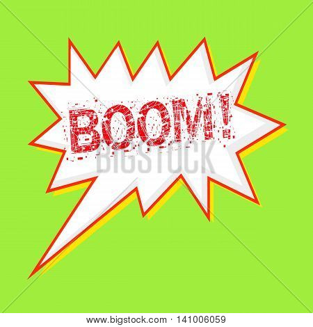 Boom red wording on Speech bubbles Background Green-yellow