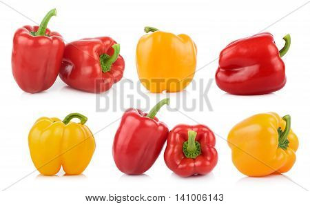 Closeup Bell pepper on white background. Bell pepper