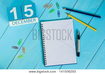 December 15th. Day 15 of month, calendar on Medical Assistant workplace background. Winter concept. Empty space for text.