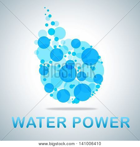 Water Power Icon Shows H2O Energy And Strength