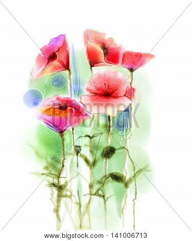 Watercolor red poppy flowers painting. Flower paint in soft color and blur style Isolated red poppies on white background. Spring floral seasonal nature background. Watercolor flowers background.