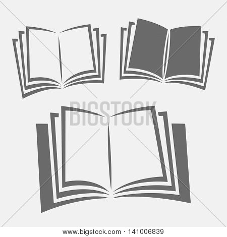 Opened book black and white vector icon set. Education concept symbol.