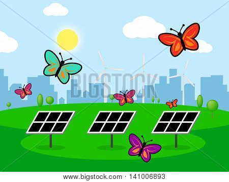 Solar Wind Power Represents Energy Source And Electricity
