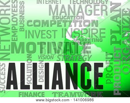 Alliance Words Represents Partner Teamwork And Network