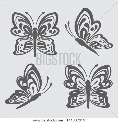 Black and white butterfly shapes vector template. Butterfly outlines to use as brush or design element.