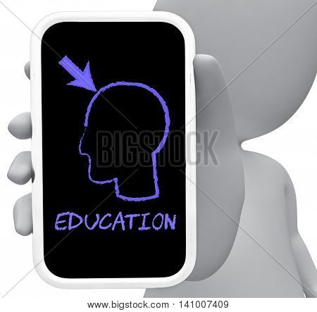 Eduction Online Indicates Mobile Phone And Cellphone 3D Rendering