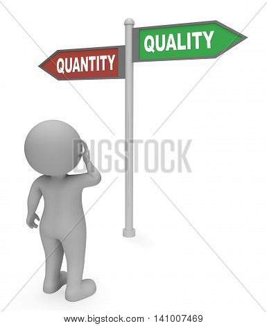 Quantity Quality Sign Shows Approval Satisfied And Guarantee 3D Rendering