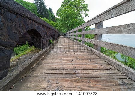 Boardwalk along the river at Willamette Falls in Oregon City