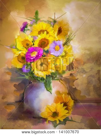 Watercolor painting flowers. Hand paint bouquet still life of yellow sunflower and violet aster flowers in vase on grunge textures background. Vintage painting style. Spring flower nature background