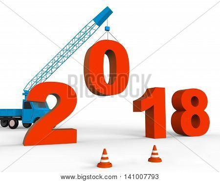 Twenty Eighteen Means Happy New Year And Building 3D Rendering