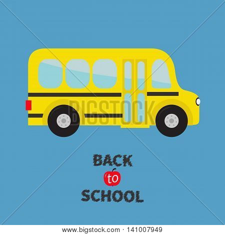 Yellow school bus kids. Cartoon clipart. Transportation. Baby collection. Side view. Back to school. Greeting card. Flat design. Isolated. Blue background. Vector illustration