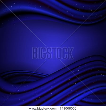 Abstract Dark Blue Wavy Background With Copy Space