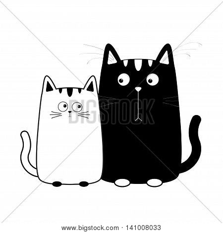 Cute cartoon black white cat boy and girl. Kitty couple on date. Big mustache whisker. Funny character set. Happy family. Love greeting card. Flat design. Baby background. Isolated Vector illustration