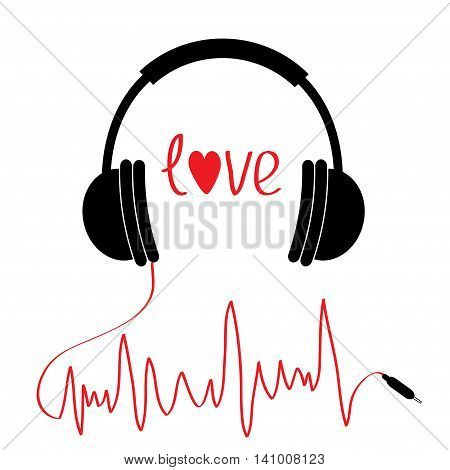 Black headphones icon with red cord in shape of cardiogram. Love card. Text heart. Flat design. Isolated. White background. Vector illustration.