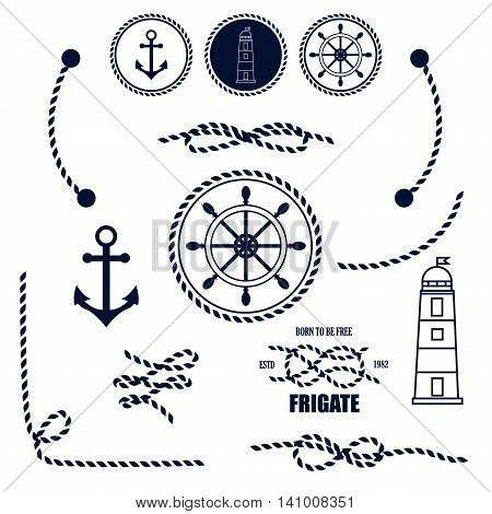 nautical and marine icons vector sign anchor ocean ship graphic