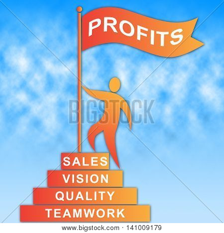 Profits Flag Indicates Revenue Earning And Success