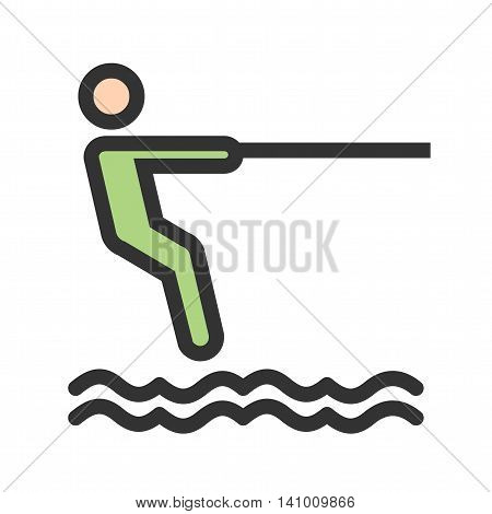 Surfing, surfer, surf icon vector image. Can also be used for outdoor fun. Suitable for use on web apps, mobile apps and print media.