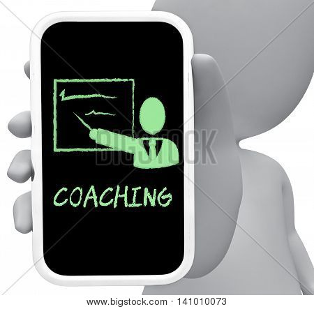 Coaching Online Represents Mobile Phone And Cellphone 3D Rendering