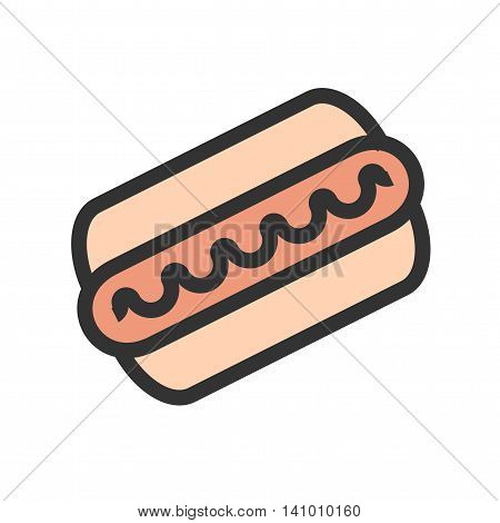 Hotdog, sausage, fries icon vector image. Can also be used for outdoor fun. Suitable for use on web apps, mobile apps and print media