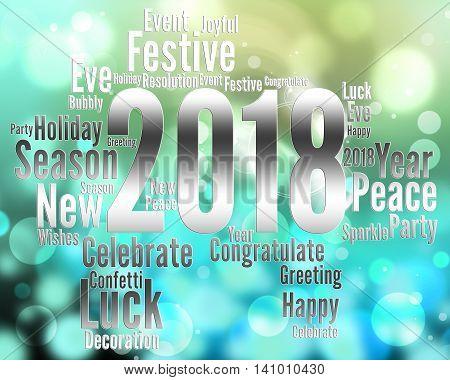 Twenty Eighteen Represents Happy New Year And Celebrates