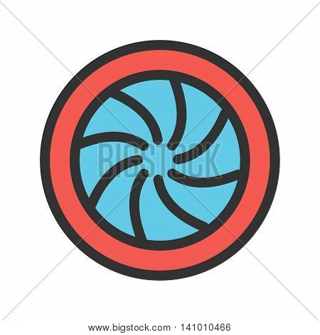 Photography, camera, shutter icon vector image. Can also be used for photography. Suitable for use on web apps, mobile apps and print media.