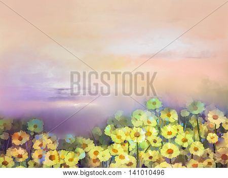 Oil painting yellow golden daisy flowers in fields. Sunset meadow, landscape with wildflower. Sky in orange and blue violet color background. Hand Paint summer floral Impressionist style