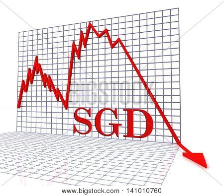Sgd Graph Negative Indicates Singapore Dollar And Dollars 3D Rendering