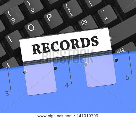 Records File Indicates Files Folder And Notes 3D Rendering