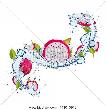 Pieces of dragon fruit, pitahaya, in water splash and ice cubes, isolated on white background