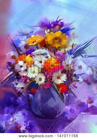 Oil painting flowers in vase. Hand paint still life bouquet of White,Yellow and Orange Sunflower, Gerbera Daisy flowers. Vintage flowers painting in soft blue and purple color background.