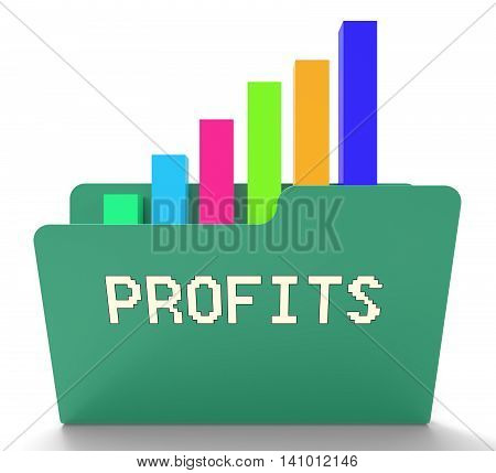 Profits File Shows Business Graph And Binder 3D Rendering