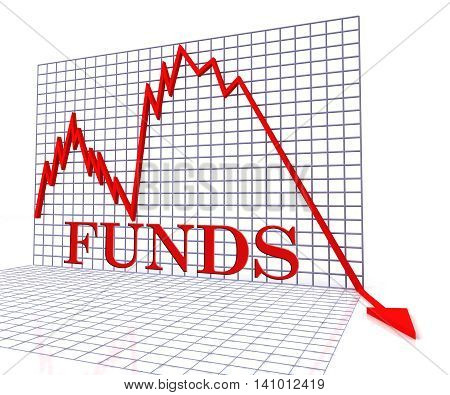 Funds Graph Negative Represents Stock Market And Capital 3D Rendering