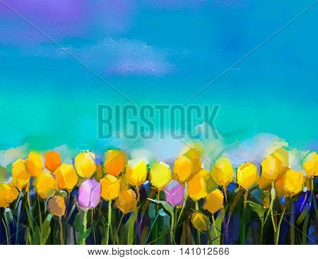 Oil painting tulips flowers. Hand paint yellow and violet tulip flowers at field with green blue sky background. Spring summer season nature background. Semi abstract flower painting background