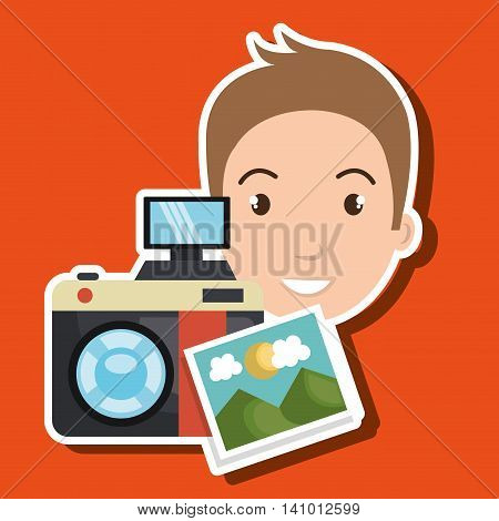 man photo camera graphic vector illustration eps 10