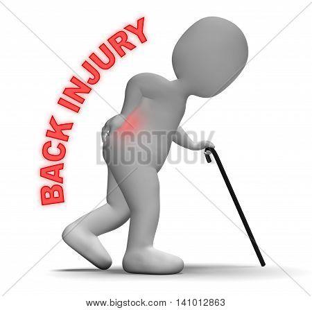 Back Injury Means Vertebral Column And Backbone 3D Rendering