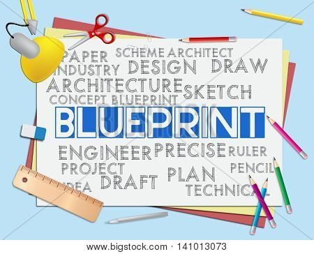 Blueprint Words Means Designer Design And Architectural