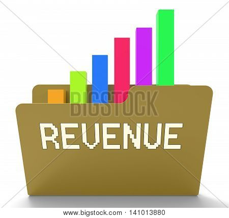 Revenue File Indicates Business Graph And Chart 3D Rendering