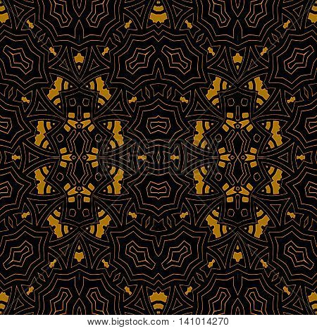 Abstract geometric seamless background. Regular ellipses ornament with golden elements and outlines on black, ornate and elegant.