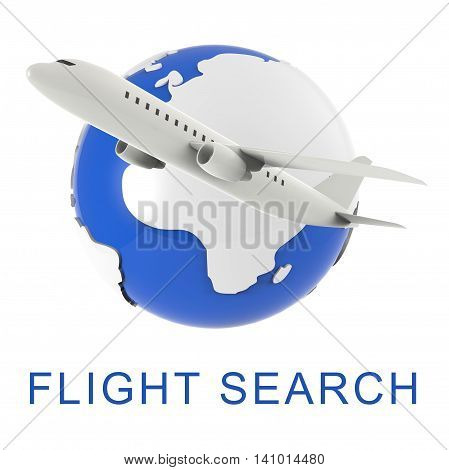 Flight Search Shows Gathering Data And Air 3D Rendering