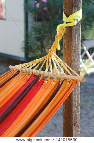 Colorful Hammock To Relax In The Resort