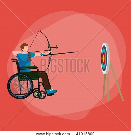 Disabled people On Wheelchair aims and shoots a bow, disability sport vector illustration