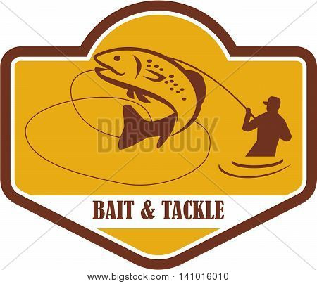 Illustration of a trout fish jumping and fly fisherman fishing viewed from the side set inside shield crest with the words Bait & Tackle in the bottom done in retro style.
